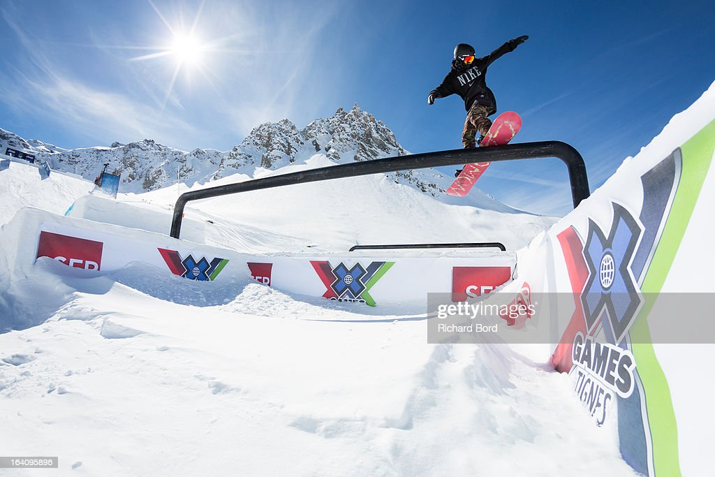 Jamie Nicholls of England performs during the Slopestyle snowboard training sessions during day two of Winter X Games Europe 2013 on March 19, 2013 in Tignes, France.