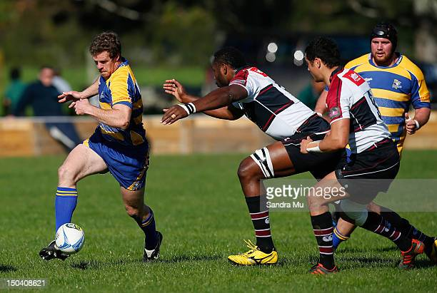 Jamie Nutbrown of Bay of Plenty in action during the ITM Cup preseason match between Bay of Plenty and North Harbour at Moore Park on August 17 2012...