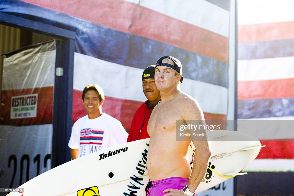 Jamie O' Brien of Hawaii after his heat on December 4, 2012 in North Shore, Hawaii.