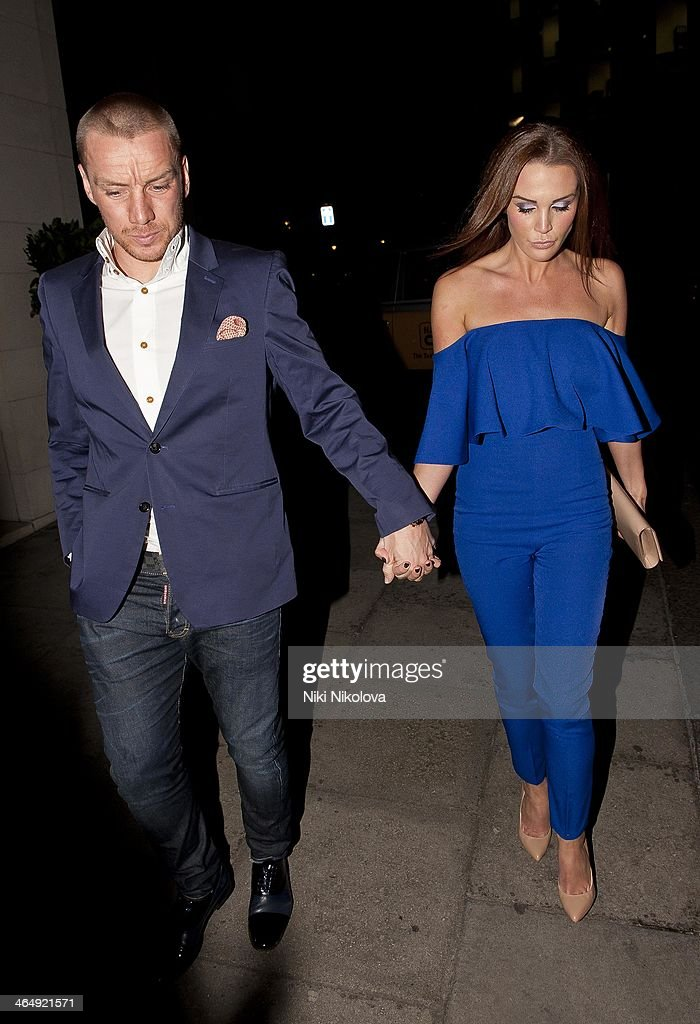 Jamie O'Hara and Danielle Lloyd are seen leaving the Dorchester Hotel, Park Lane on January 26, 2014 in London, England.