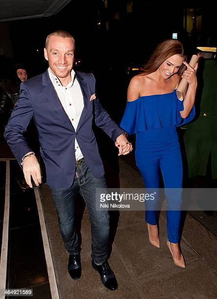 Jamie O'Hara and Danielle Lloyd are seen leaving the Dorchester Hotel Park Lane on January 26 2014 in London England