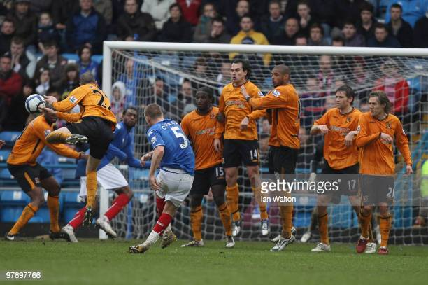 Jamie O'Hara of Portsmouth scores the 22 equaliser during the Barclays Premier League match between Portsmouth and Hull City at Fratton Park on March...