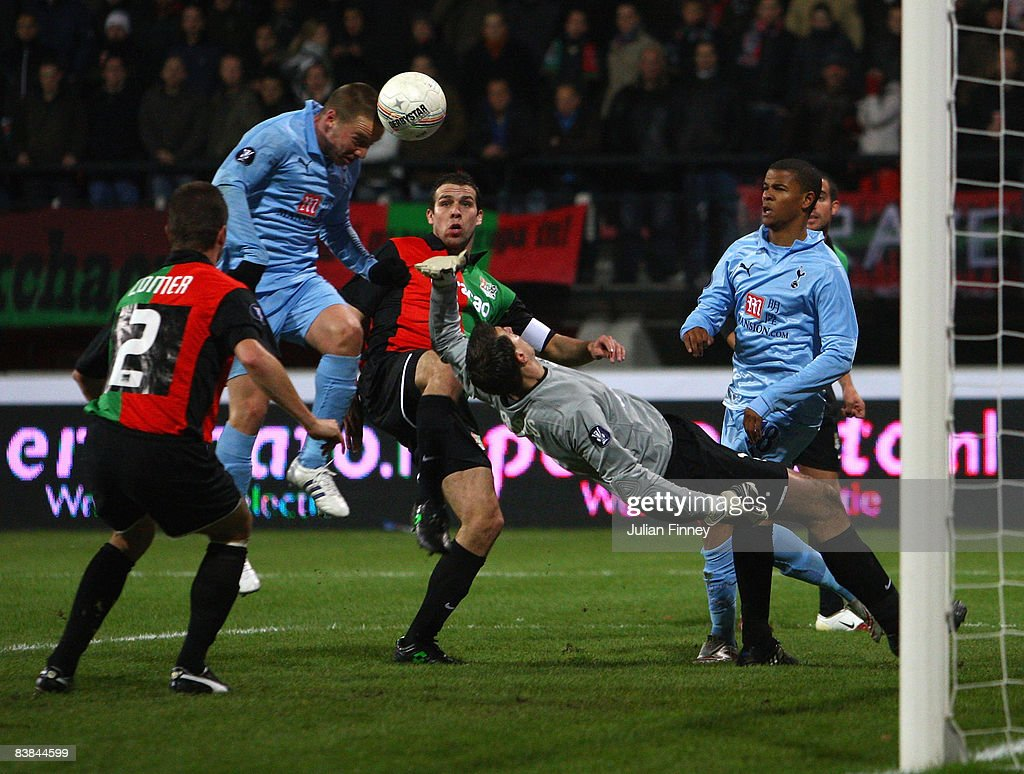 Jamie O'Hara of Spurs scores with a header during the UEFA Cup match between NEC Nijmegen and Tottenham Hotspur at the McDOS Goffertstadion on...