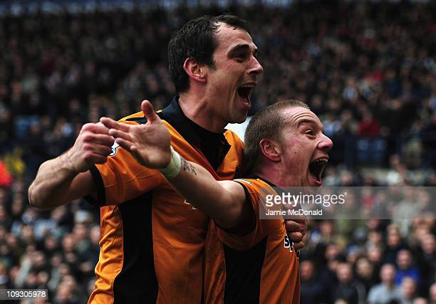 Jamie O'Hara of Wolverhampton Wanderers celebrates his goal with Nenad Milijas during the Barclays Premier League match between West Bromwich Albion...