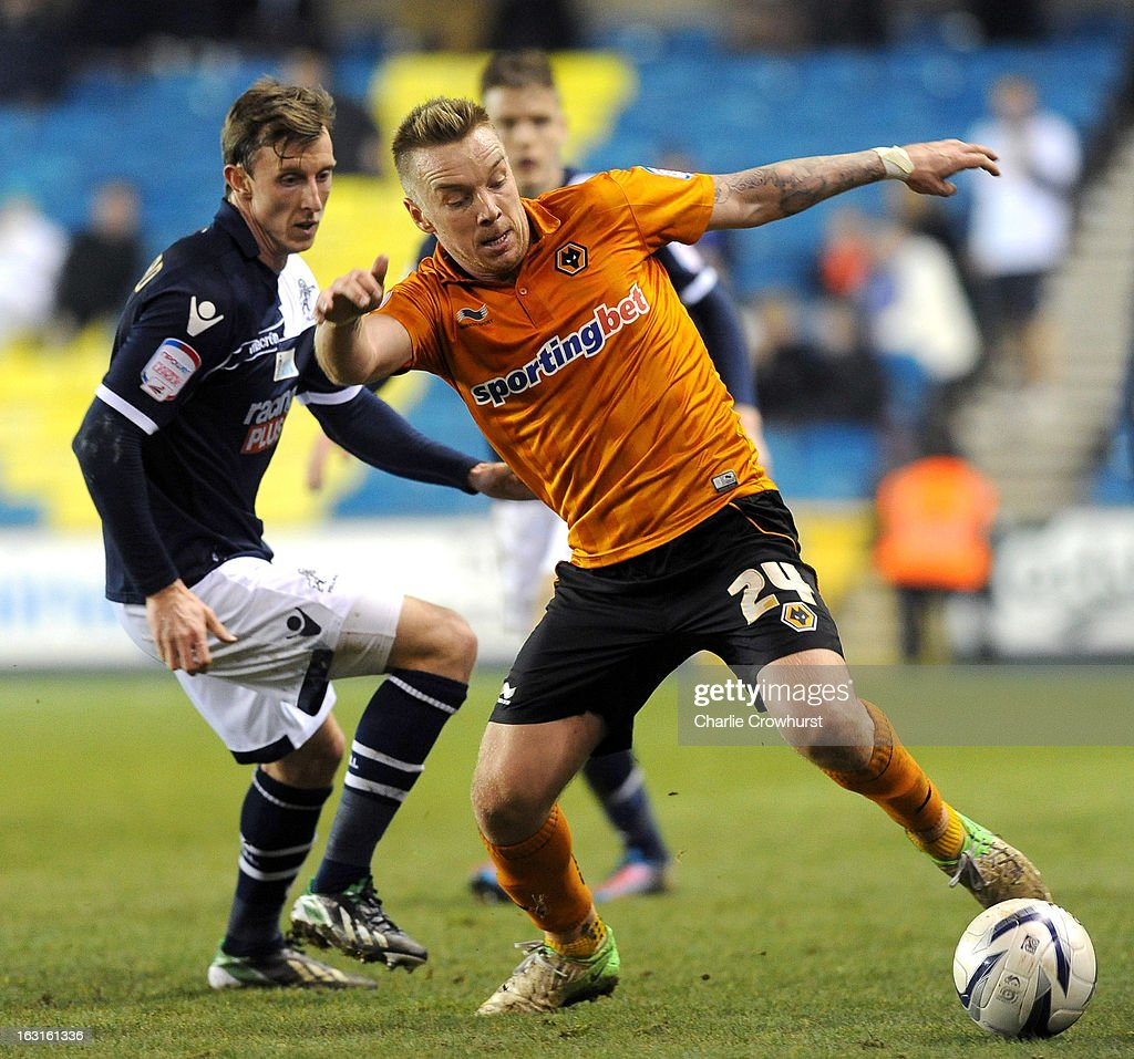 <a gi-track='captionPersonalityLinkClicked' href=/galleries/search?phrase=Jamie+O%27Hara&family=editorial&specificpeople=4182837 ng-click='$event.stopPropagation()'>Jamie O'Hara</a> of Wolves looks to keep the ball in play during the npower Championship match between Millwall and Wolverhampton Wanderers at The Den on March 05, 2013 in London, England,