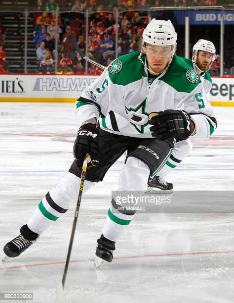 Jamie Oleksiak of the Dallas Stars in action against the New Jersey Devils on March 26 2017 at Prudential Center in Newark New Jersey The Stars...