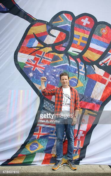 Jamie Oliver attends a photocall during activities on Food Revolution Day at Rhyl Primary School on May 15 2015 in London England