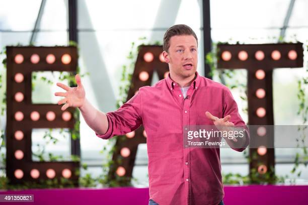 Jamie Oliver broadcasts a live cooking class from City Hall to school children across the globe as part of the third annual Food Revolution Day on...