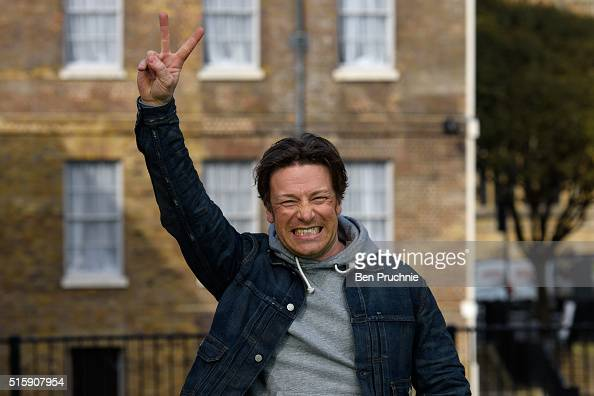 Jamie Oliver poses as he is interviewed in Westminister after British Chancellor of the Exchequer George Osborne reveals the 2016 budget statement on...