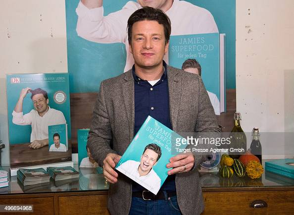 Jamie Oliver poses during the presentation of the book 'Everyday Super Food' on November 11 2015 in Berlin Germany