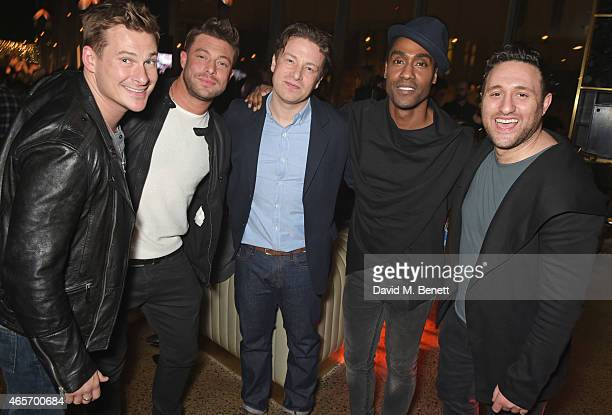 Jamie Oliver poses with Lee Ryan Duncan James Simon Webbe and Antony Costa of Blue at a party hosted by Instagram's Kevin Systrom and Jamie Oliver...