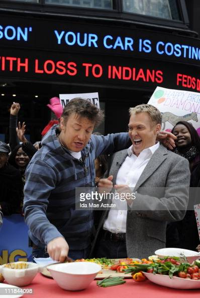 AMERICA Jamie Oliver takes his Food Revolution to Times Square during an appearance on GOOD MORNING AMERICA 4/7/11 airing on the ABC Television...
