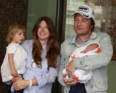 Jamie Oliver wife Jools Oliver and youngest daughter Blossom Rainbow leave Portland Hospital with their newborn baby son Buddy on September 16 2010...