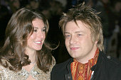 Jamie Oliver with his wife Jools during 'Keeping Mum' London Premiere at Vue Leicester Square in London Great Britain