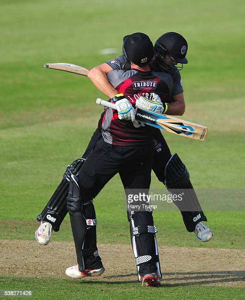 Jamie Overton and Tim Groenewald of Somerset celebrate after victory over Gloucestershire during the Royal London One Day Cup match between Somerset...