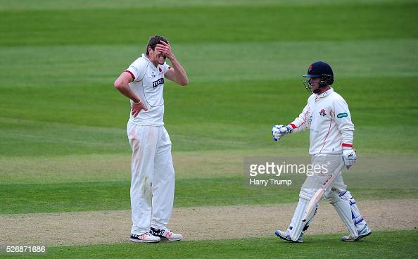 Jamie Overton of Somerset reacts during Day One of the Specsavers County Championship match between Somerset and Lancashire at the County Ground on...