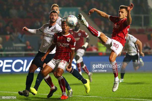 Jamie Paterson of Bristol City stretches for an attempt on goal during the Sky Bet Championship match between Bristol City and Bolton Wanderers at...