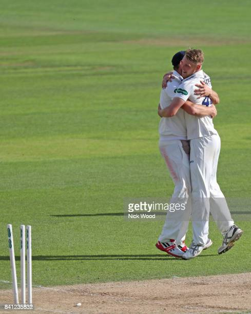 Jamie Porter celebrates taking the wicket of Jack Leach during the Essex v Somerset Specsavers County Championship Division One cricket match at the...