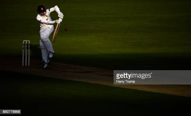 Jamie Porter of Essex bats as the light fades during Day Three of the Specsavers County Championship Division One match between Hampshire and Essex...