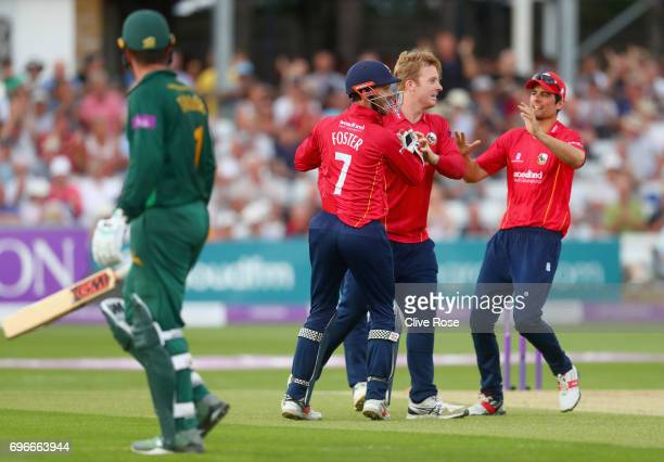 Jamie Porter of Essex celebrates running out Brendan Taylor of Nottinghamshire during the Royal London OneDay Cup Semi Final between Essex and...