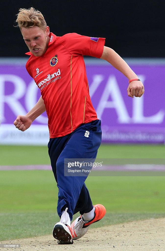 Jamie Porter of Essex celebrates taking a wicket during the Royal London OneDay Cup Quarter Final match between Essex and Yorkshire at The Essex...