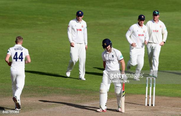 Jamie Porter of Essex celebrates with team mates after taking the wicket of Sam Hain during the Specsavers County Championship Division One match...