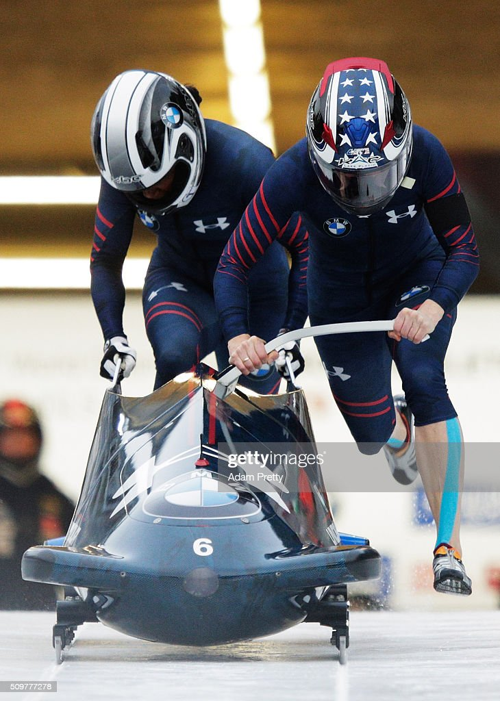 Jamie Poser and Cherrelle Garrett of the USA push their Bob off the start during during Day 1 of the IBSF World Championships for Bob and Skeleton at Olympiabobbahn Igls on February 12, 2016 in Innsbruck, Austria.