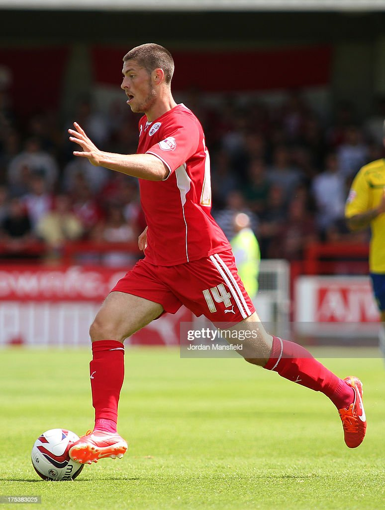 Jamie Proctor of Crawley Town in action during the Sky Bet League One match between Crawley Town FC and Coventry at Broadfield Stadium on August 03, 2013 in Crawley, West Sussex.