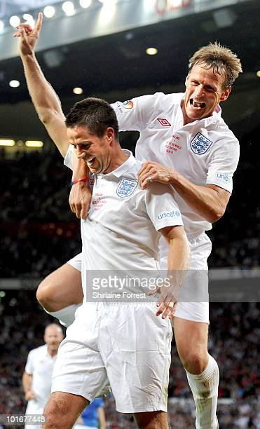 Jamie Redknapp and Teddy Sheringham participate in Soccer Aid in aid of UNICEF at Old Trafford on June 6 2010 in Manchester England