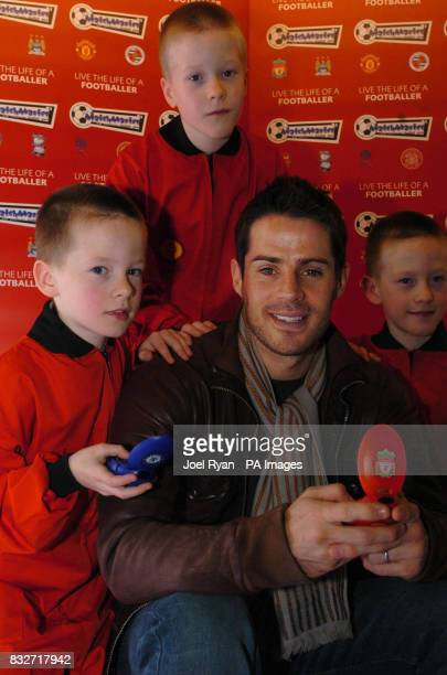 Jamie Redknapp and the triplet toy test team Alexander Reece and Connor Hoggard 9 years old unveil the new Matchmaster electronic football game at...