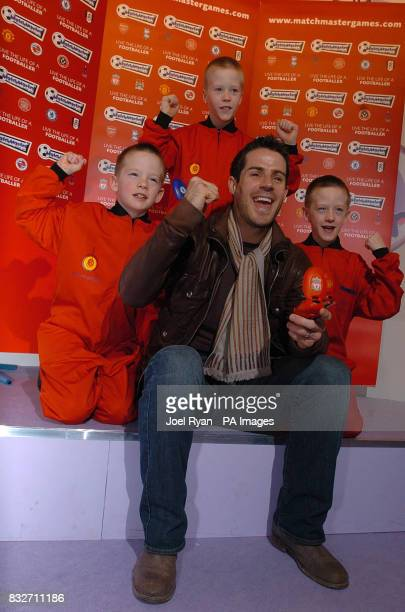 Jamie Redknapp and the triplet toy test team unveil the new Matchmaster electronic football game at the Toyfair 2007 at the ExCel Centre in east...