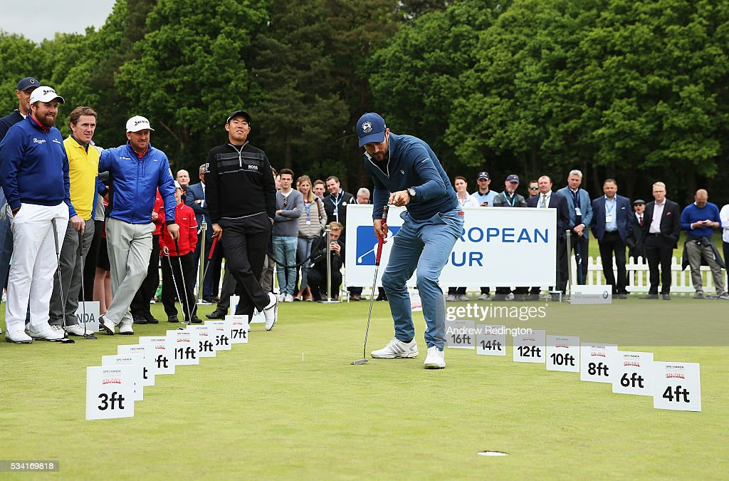 <a gi-track='captionPersonalityLinkClicked' href=/galleries/search?phrase=Jamie+Redknapp&family=editorial&specificpeople=206242 ng-click='$event.stopPropagation()'>Jamie Redknapp</a> celebrates in the ISPS HANDA Pressure Putt Showdown prior to the BMW PGA Championship at Wentworth on May 25, 2016 in Virginia Water, England.