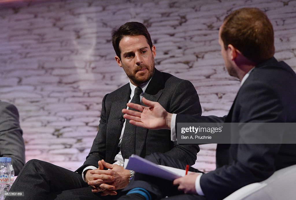 Jamie Redknapp, Former England and Liverpool midfielder; Daily Mail and MailOnline columnist; Sky Sports pundit and Colin Kennedy, Metro, Assistant Editor at It's all Kicking Off at the ITV Stage at Princess Anne during day four of Advertising Week Europe held at BAFTA 195 Piccadilly on April 3, 2014 in London, England.