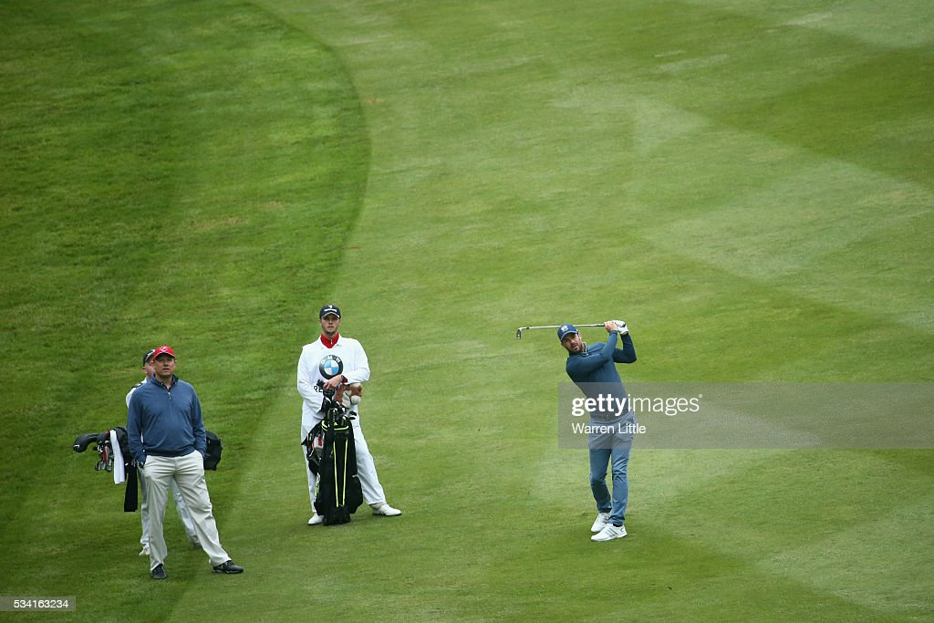 <a gi-track='captionPersonalityLinkClicked' href=/galleries/search?phrase=Jamie+Redknapp&family=editorial&specificpeople=206242 ng-click='$event.stopPropagation()'>Jamie Redknapp</a> in action during the Pro-Am prior to the BMW PGA Championship at Wentworth on May 25, 2016 in Virginia Water, England.