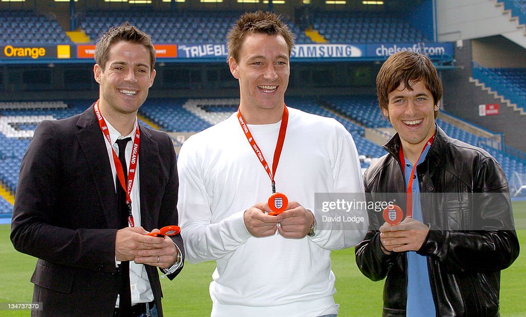 Jamie Redknapp John Terry and Joe Cole during The Interactive Hand Held Football Game 'Match Master' Launch April 24 2006 at Stamford Bridge in...