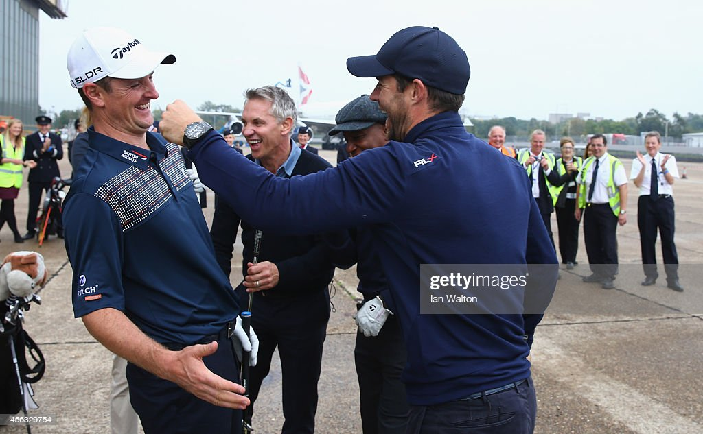 Jamie Redknapp reacts after playing a shot from the wing of a British Airways Boeing 747 to a target 180 yards away during an event to raise funds for the Kate and Justin Rose Foundation at Heathrow Airport on September 29, 2014 in London, England. British Airways has donated flights to the Kate and Justin Rose foundation, which was created to inspire children through nutrition, education and experiences