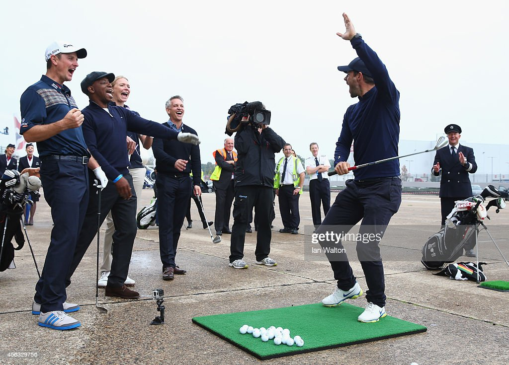 Jamie Redknapp reacts after playing a shot to a target 180 yards away during an event to raise funds for the Kate and Justin Rose Foundation at Heathrow Airport on September 29, 2014 in London, England. British Airways has donated flights to the Kate and Justin Rose foundation, which was created to inspire children through nutrition, education and experiences