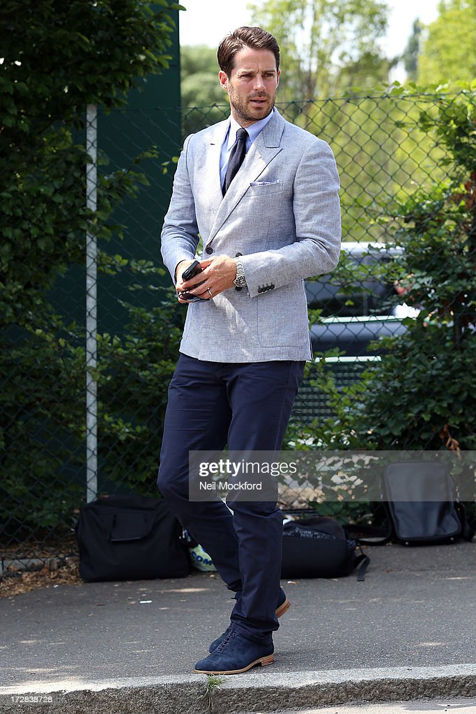 Jamie Redknapp seen at Wimbledon on Men's Semi-Final day on July 5, 2013 in London, England.