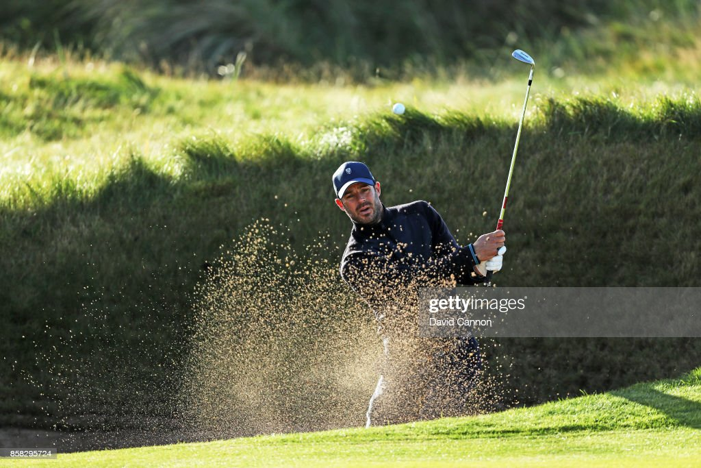 Jamie Redknapp the former England and Liverpool football player plays a shot on the second hole during the second round of the 2017 Alfred Dunhill Links Championship on the Championship Links at Carnoustie on October 6, 2017 in Carnoustie, Scotland.