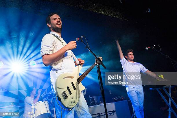 Jamie Reynolds and James Righton of Klaxons perform on stage at Manchester Academy on October 28 2014 in Manchester United Kingdom