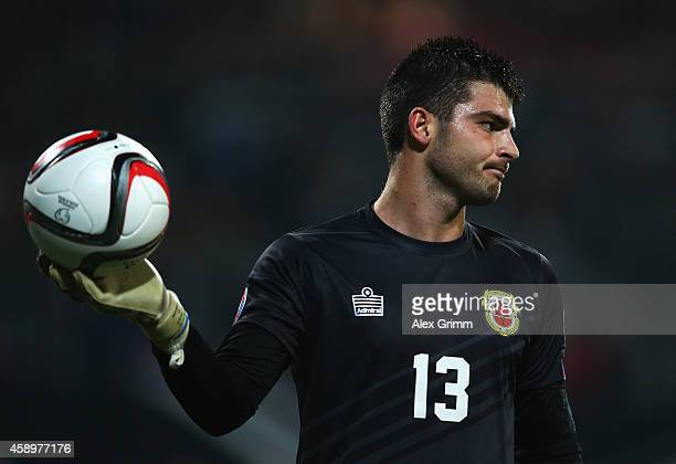 Jamie Robba of Gibraltar reacts during the EURO 2016 Group D Qualifier match between Germany and Gibraltar at Grundig Stadion on November 14 2014 in...