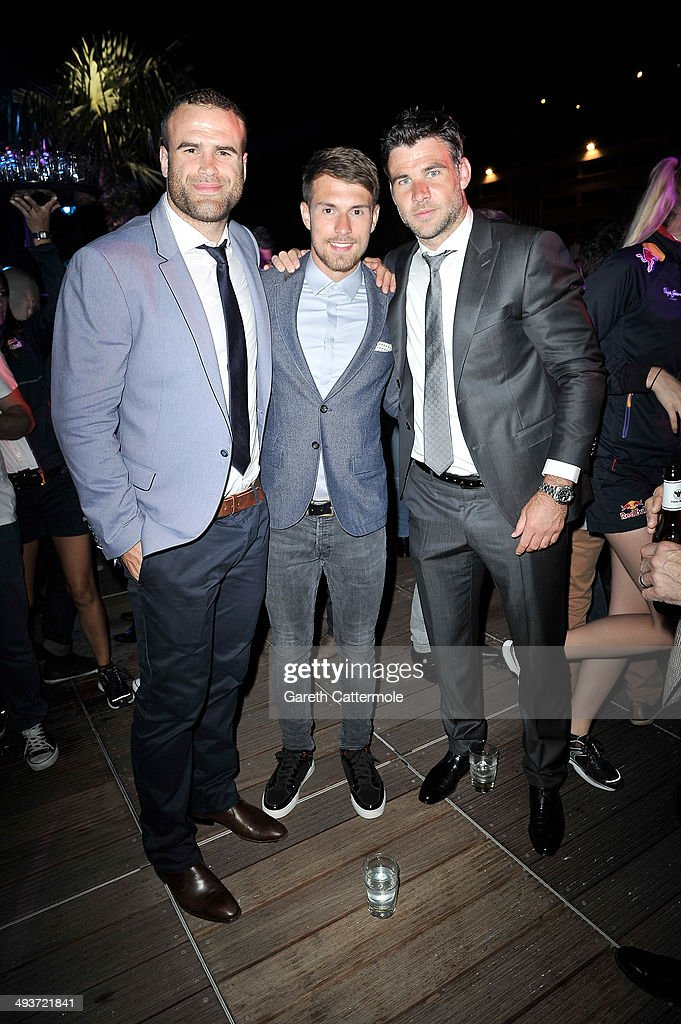 Jamie Roberts, Aaron Ramsey and Mike Phillips onboard the Red Bull Energy Station ahead of the Monaco Formula One Grand Prix at Circuit de Monaco on May 24, 2014 in Monte-Carlo, Monaco.
