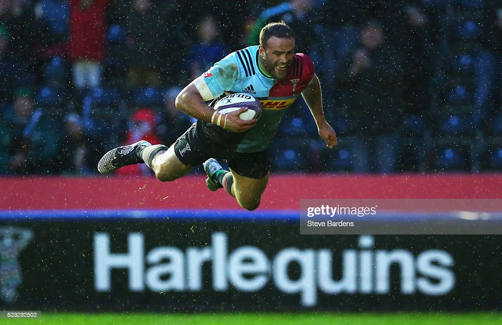 Jamie Roberts of Harlequins scores the opening try during the European Rugby Challenge Cup Semi Final match between Harlequins and Grenoble at...