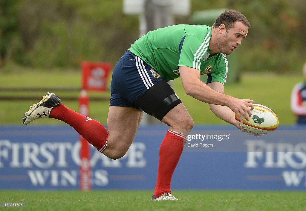 Jamie Roberts, of the British & Irish Lions, who has been selected at centre in the final test match against the Wallabies, catches the ball during the British & Irish Lions training session on July 3, 2013 in Noosa, Australia.
