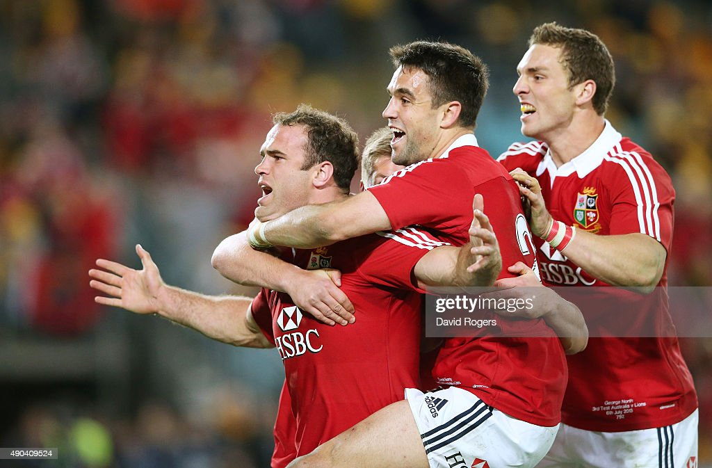 Jamie Roberts of the Lions is mobbed by team mates Conor Murray and George North after scoring the Lions fourth try during the International Test match between the Australian Wallabies and British & Irish Lions at ANZ Stadium on July 6, 2013 in Sydney, Australia.