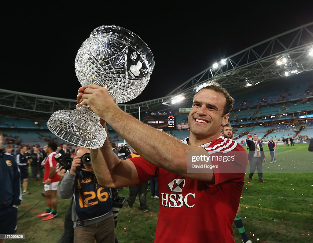 Jamie Roberts of the Lions raises the Tom Richards Cup after their victory during the International Test match between the Australian Wallabies and British & Irish Lions at ANZ Stadium on July 6, 2013 in Sydney, Australia.