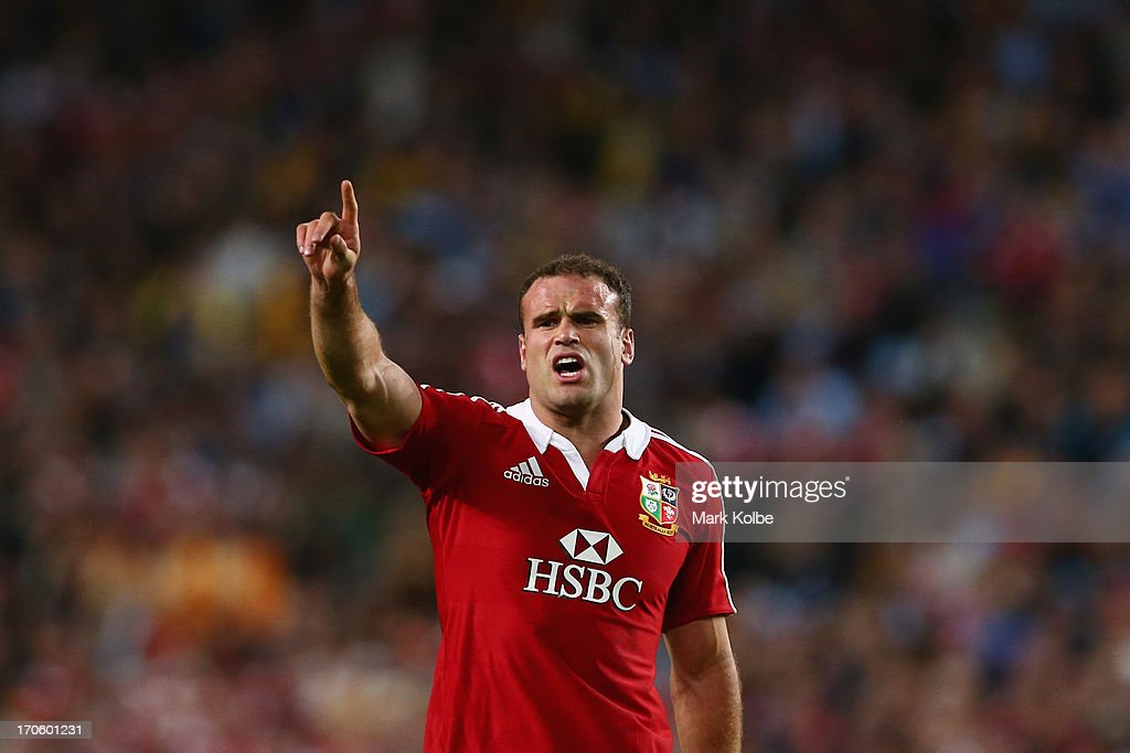 Jamie Roberts of thre Lions calls instructions in defence during the match between the NSW Waratahs and the British & Irish Lions at Allianz Stadium on June 15, 2013 in Sydney, Australia.