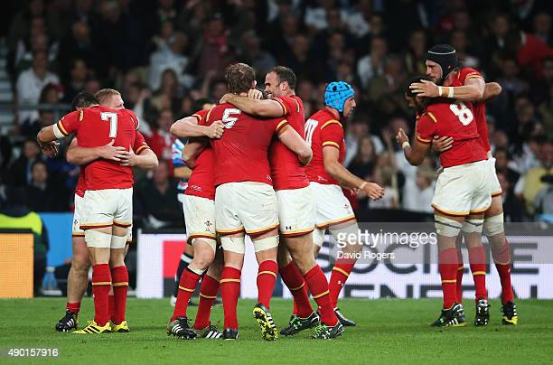 Jamie Roberts of Wales and Alun Wyn Jones of Wales celebrate victory on the final whistle during the 2015 Rugby World Cup Pool A match between...