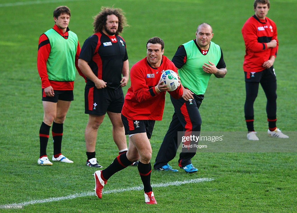 <a gi-track='captionPersonalityLinkClicked' href=/galleries/search?phrase=Jamie+Roberts&family=editorial&specificpeople=3530992 ng-click='$event.stopPropagation()'>Jamie Roberts</a> of Wales catches the pass during a Wales IRB Rugby World Cup 2011 training session at Mt Smart Stadium on October 13, 2011 in Auckland, New Zealand.