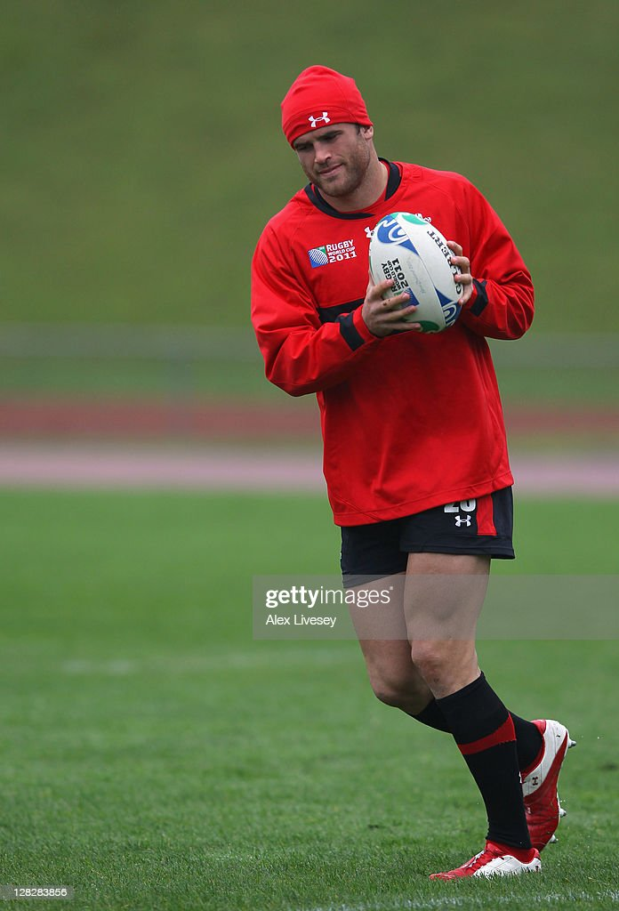 <a gi-track='captionPersonalityLinkClicked' href=/galleries/search?phrase=Jamie+Roberts&family=editorial&specificpeople=3530992 ng-click='$event.stopPropagation()'>Jamie Roberts</a> of Wales in action during a Wales IRB Rugby World Cup 2011 training session at Newtown Park on October 6, 2011 in Wellington, New Zealand.